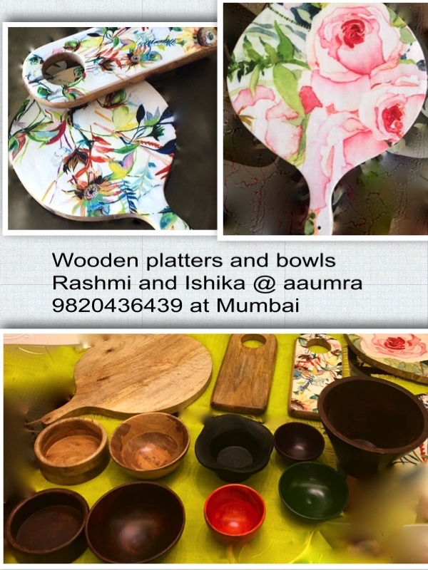 Wooden platters and bowls by Aaumra, Mumbai-9820436439